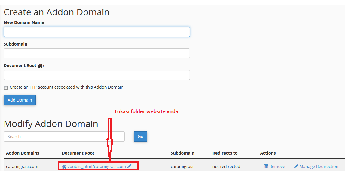 Dokumentasi Migrasi Antar CPanel pada Website WordPress