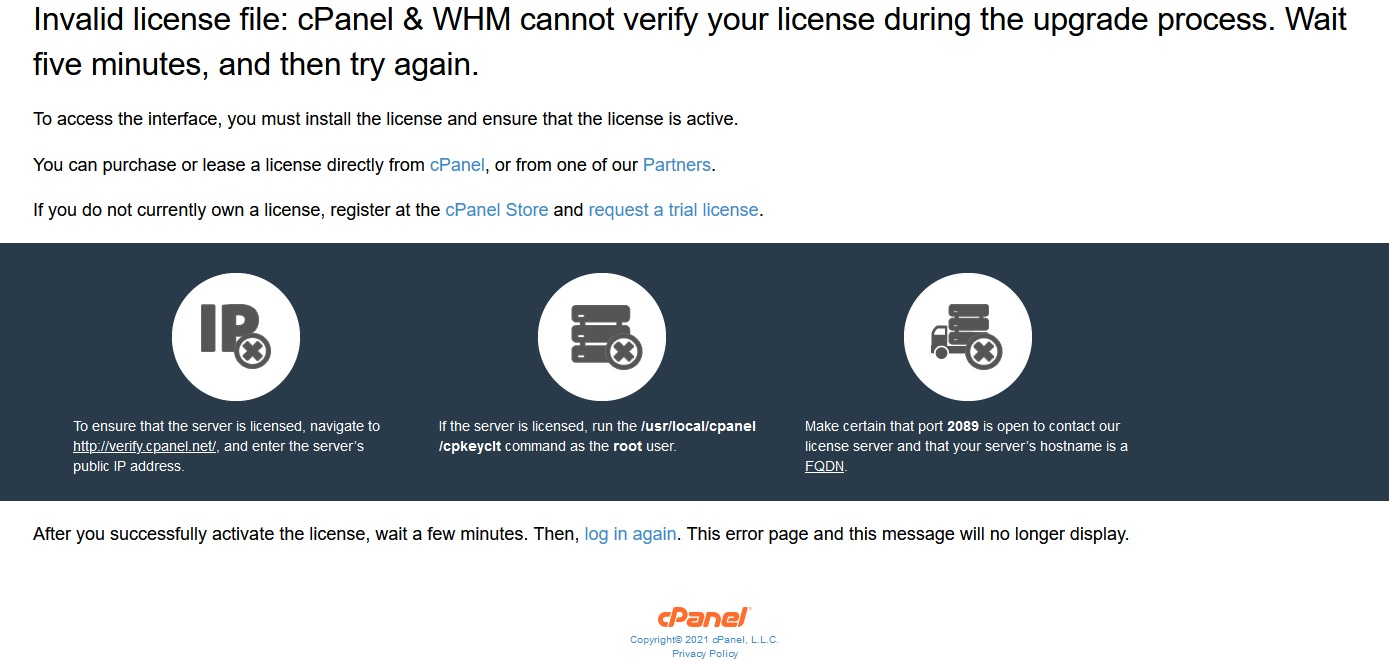 Error Invalid license file: cPanel & WHM cannot verify your license during the upgrade process